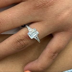 Sterling Silver Emerald cut Engagement Ring sz 5